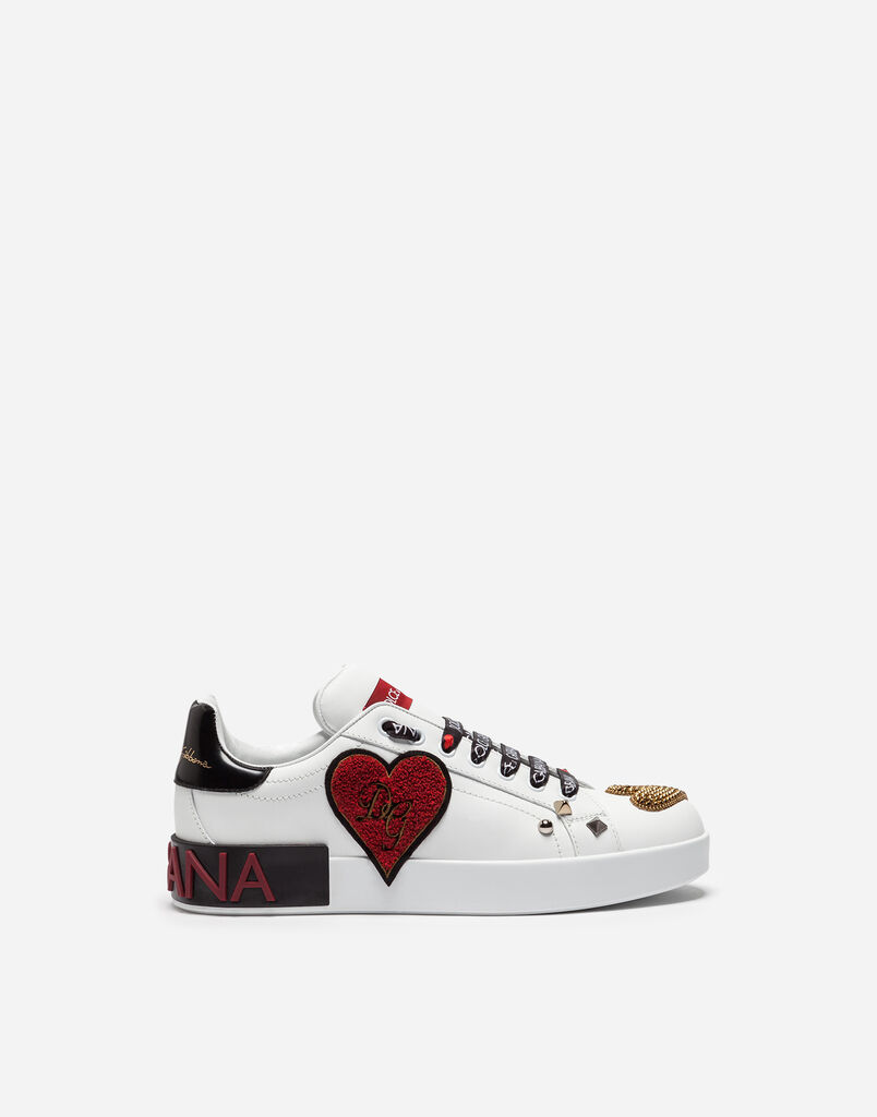 PORTOFINO SNEAKERS IN CALFSKIN WITH PATCH AND EMBROIDERY