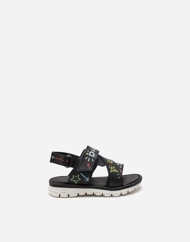 PRINTED LEATHER SANDALS