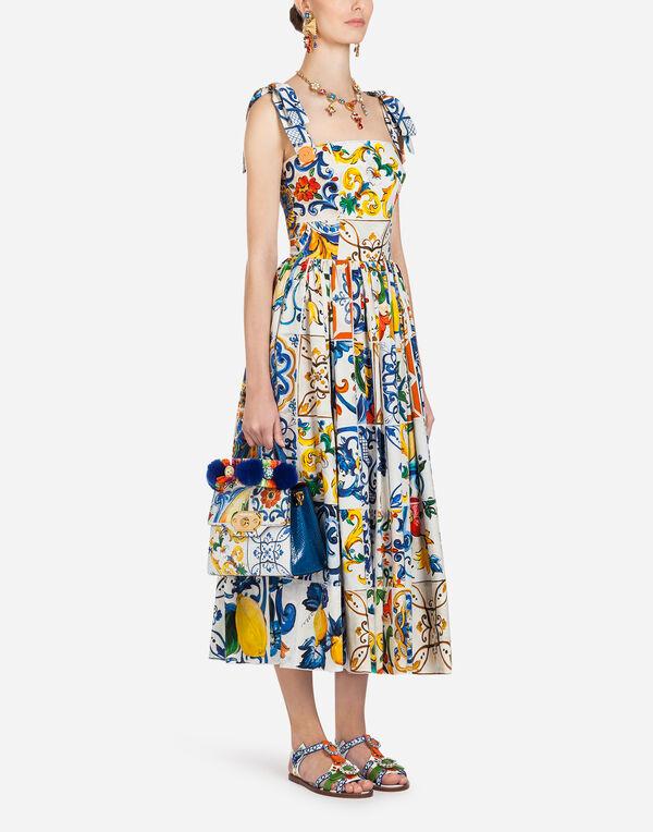 0e923b9e51a7 Dolce   Gabbana ABITO LUNGO IN COTONE STAMPA MAIOLICA