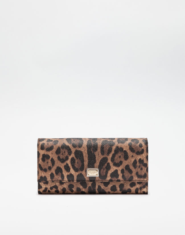 Dolce & Gabbana CONTINENTAL WALLET IN LEOPARD TEXTURED LEATHER