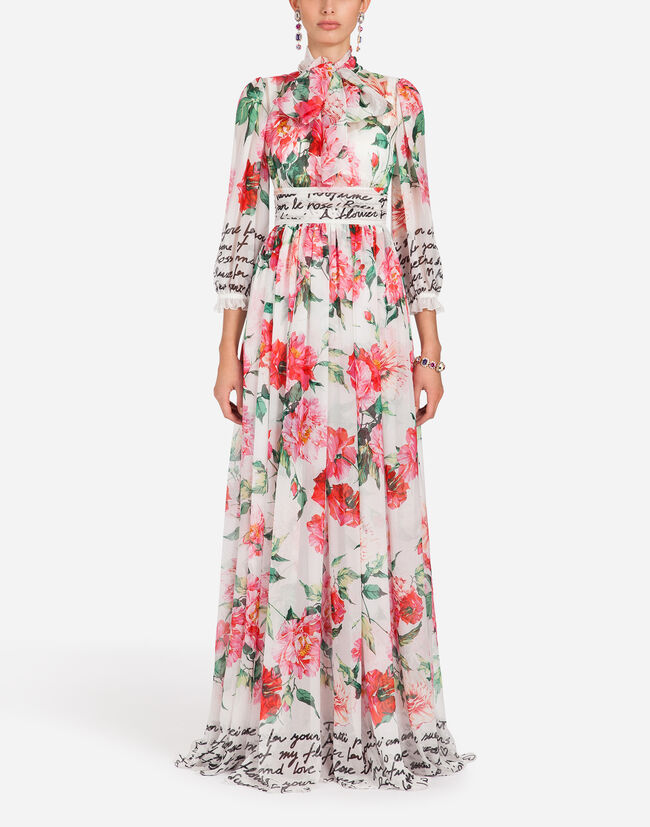 LONG DRESS IN PRINTED CHIFFON