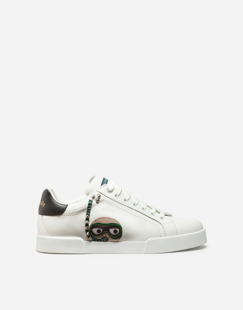 Dolce&Gabbana CALFSKIN PORTOFINO SNEAKERS WITH PATCHES OF THE DESIGNERS