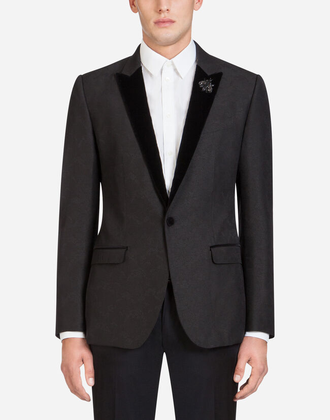 JACQUARD TUXEDO JACKET WITH PATCH