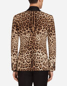 SINGLE-BREASTED JACKET IN LEOPARD PRINT SILK