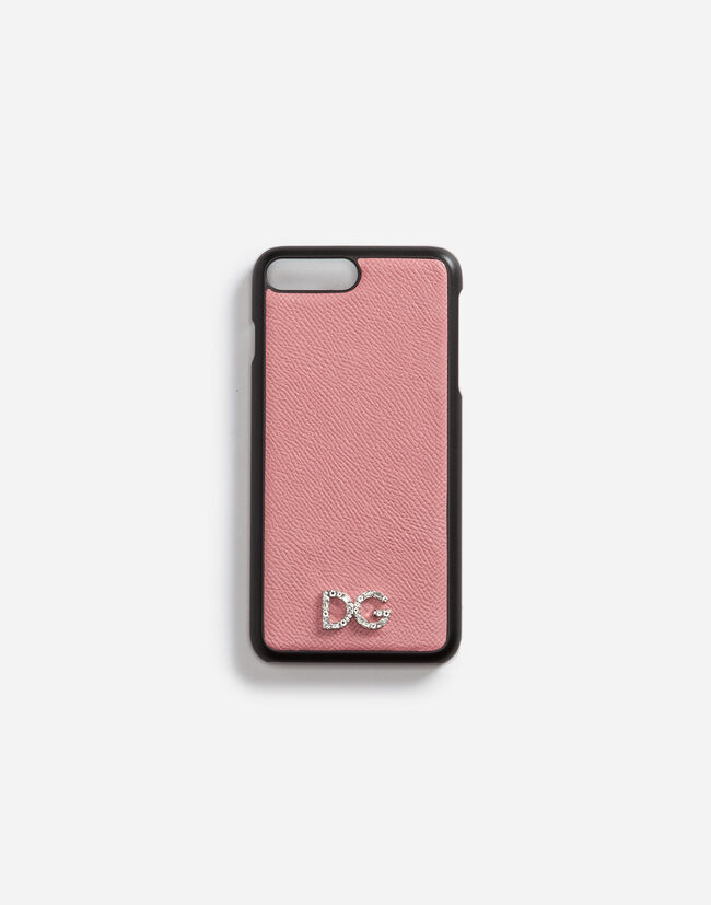 Dolce&Gabbana IPHONE 7 PLUS COVER WITH DAUPHINE CALFSKIN DETAIL AND DG CRYSTAL LOGO