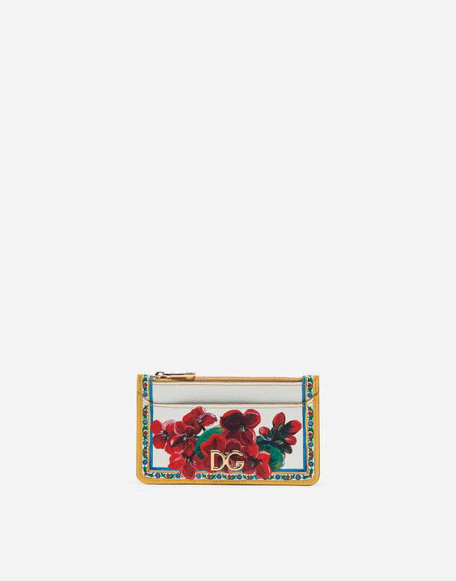 Credit Card Holder In Printed Dauphine Calfskin With Logo by Dolce&Gabbana