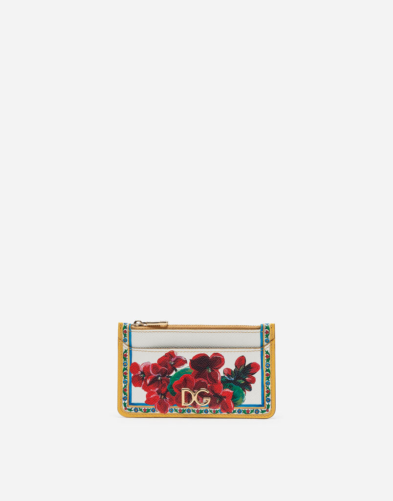 Dolce & Gabbana CREDIT CARD HOLDER IN PRINTED DAUPHINE CALFSKIN WITH LOGO