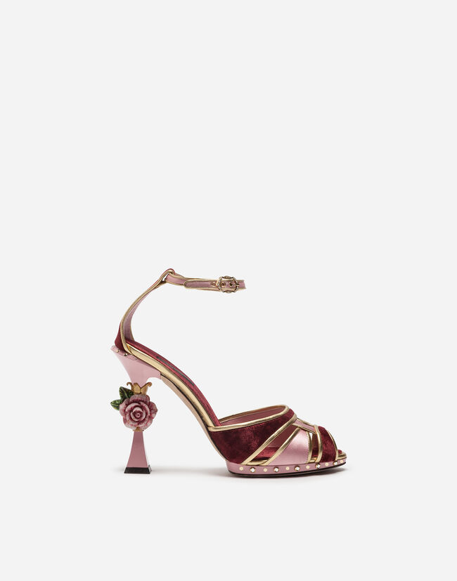 SANDAL IN SATIN AND VELVET WITH SCULPTED HEEL