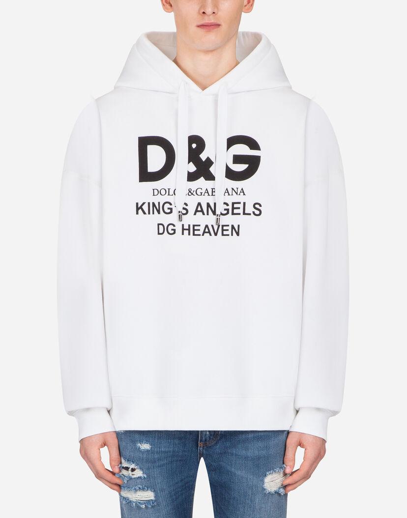 acheter réel bonne réputation dernier style de 2019 Sweatshirts Homme | Dolce&Gabbana - SWEAT-SHIRT EN COTON AVEC CAPUCHE ET  IMPRIMÉ