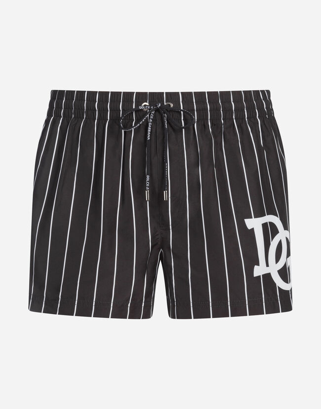 Dolce & Gabbana SHORT PRINTED SWIMMING TRUNKS WITH PATCH