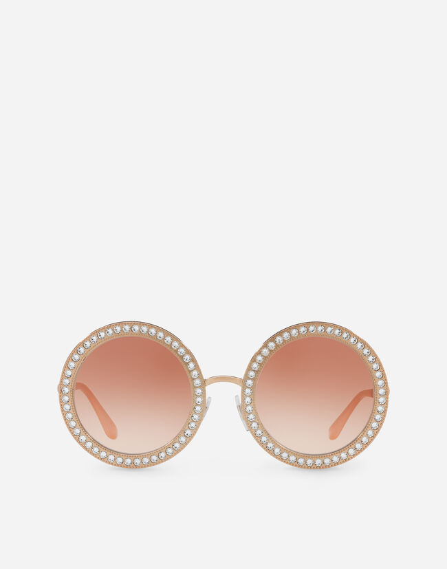 Dolce & Gabbana ROUND METAL SUNGLASSES WITH CRYSTAL DETAILS