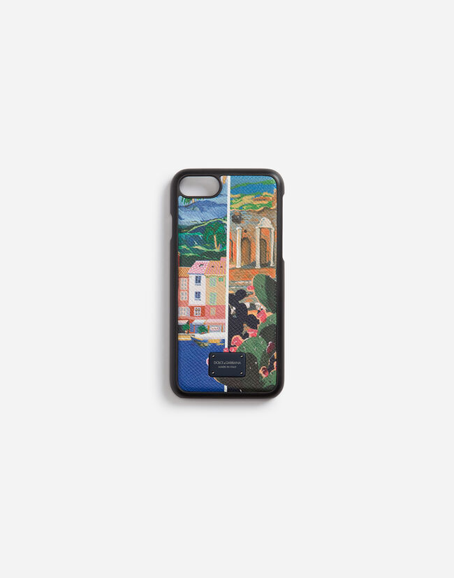 IPHONE 7/8 COVER IN PRINTED DAUPHINE CALFSKIN