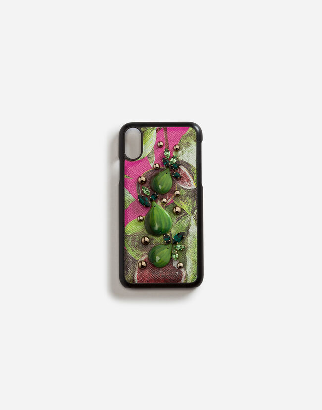 Dolce & Gabbana IPHONE X COVER WITH PRINTED DAUPHINE CALFSKIN DETAIL AND EMBROIDERIES