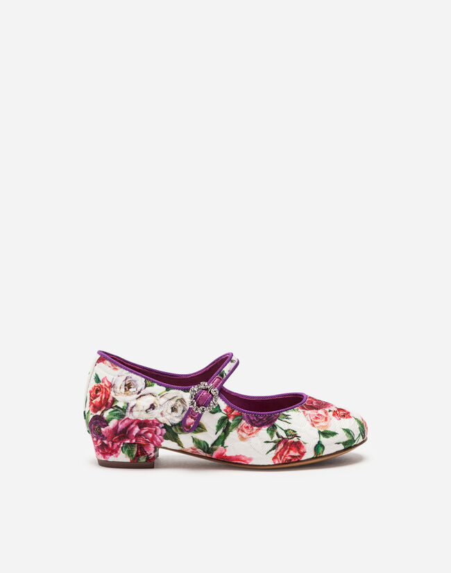 BROCADE BALLET FLATS WITH BEJEWELED DETAIL