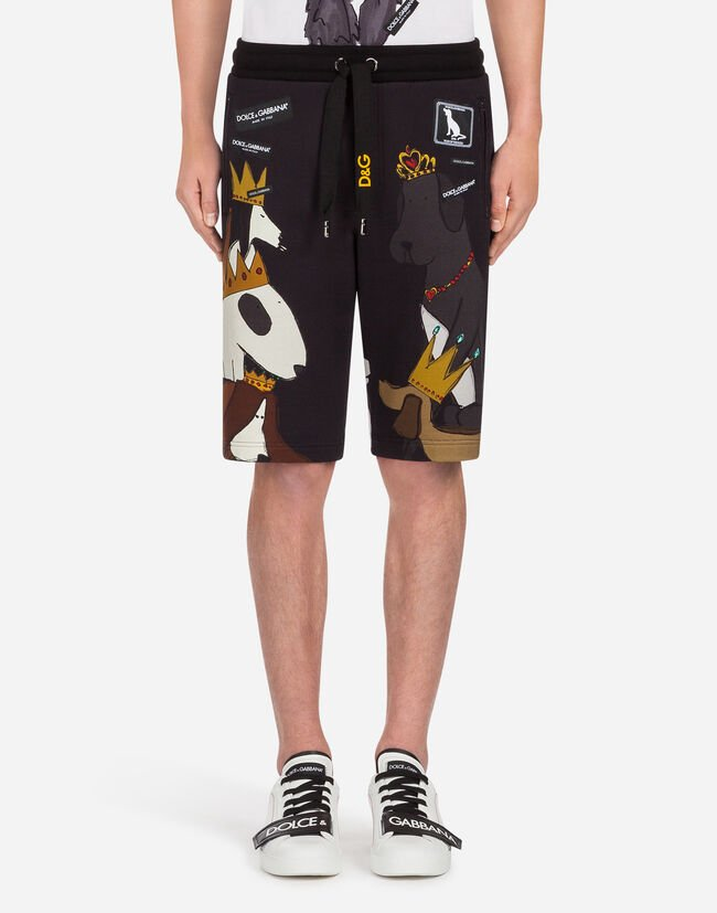 BERMUDA JOGGING SHORTS IN PRINTED JERSEY