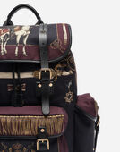 MILITARY BACKPACK IN CANVAS AND LEATHER