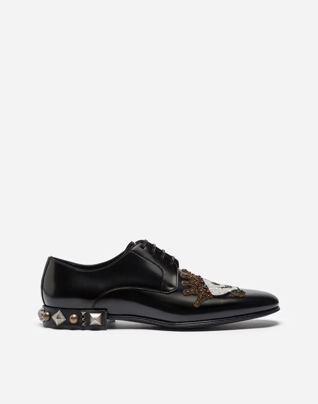 DERBY IN BRUSHED CALFSKIN WITH EMBROIDERY