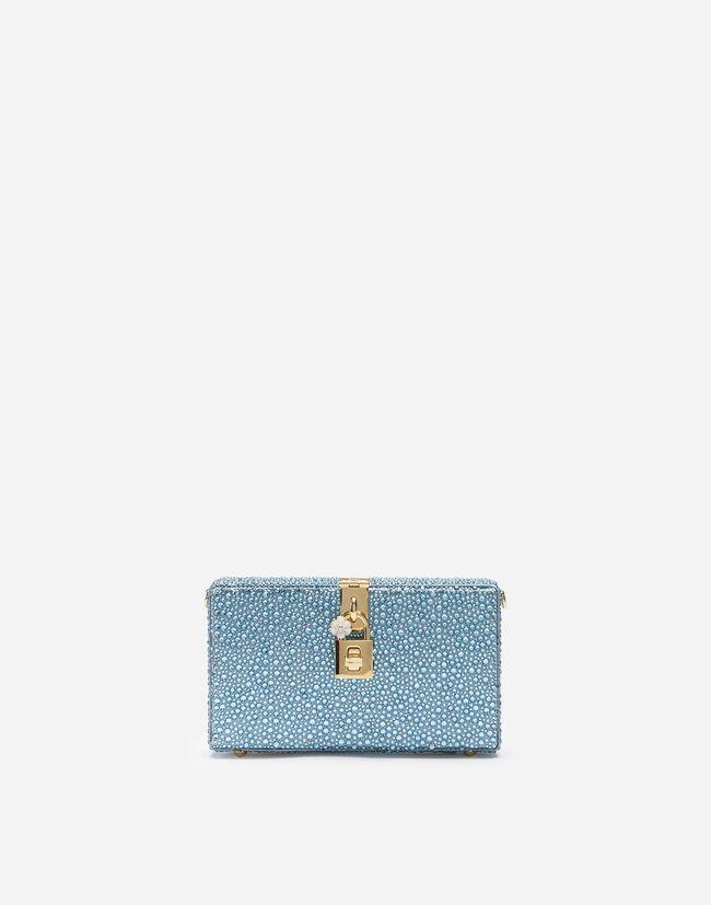 Dolce&Gabbana DOLCE BOX CLUTCH WITH HEAT-APPLIED RHINESTONES