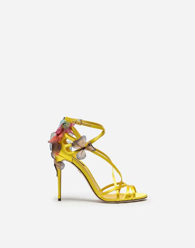 SATIN SANDAL WITH EMBROIDERY