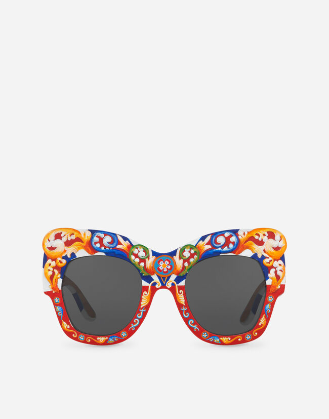 Dolce & Gabbana SQUARE SUNGLASSES IN HAND-PAINTED WOOD