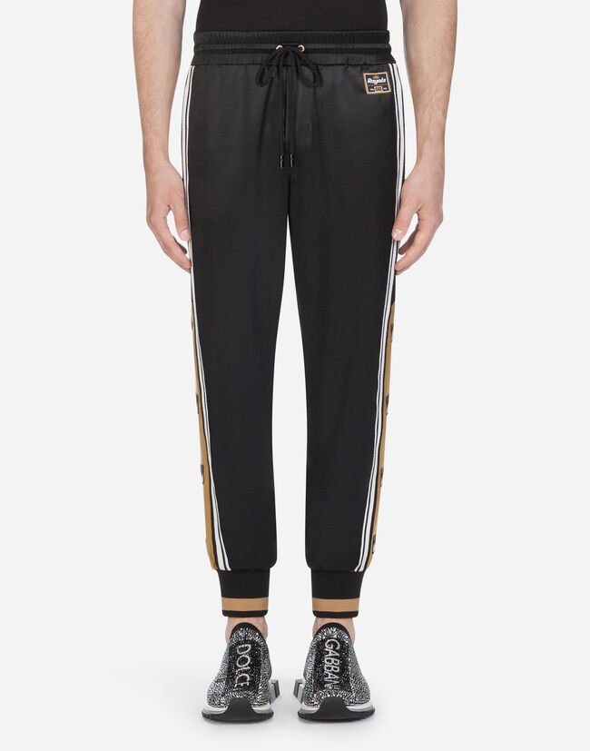 Dolce & Gabbana SATIN JOGGING PANTS WITH PATCH