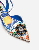 Dolce&Gabbana PRINTED PATENT LEATHER SLINGBACKS WITH BROOCH DETAIL
