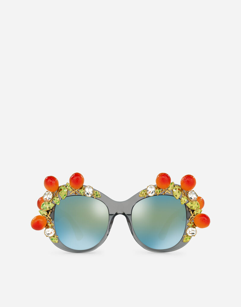 ACETATE SUNGLASSES WITH BEJEWELLED APPLIQUE