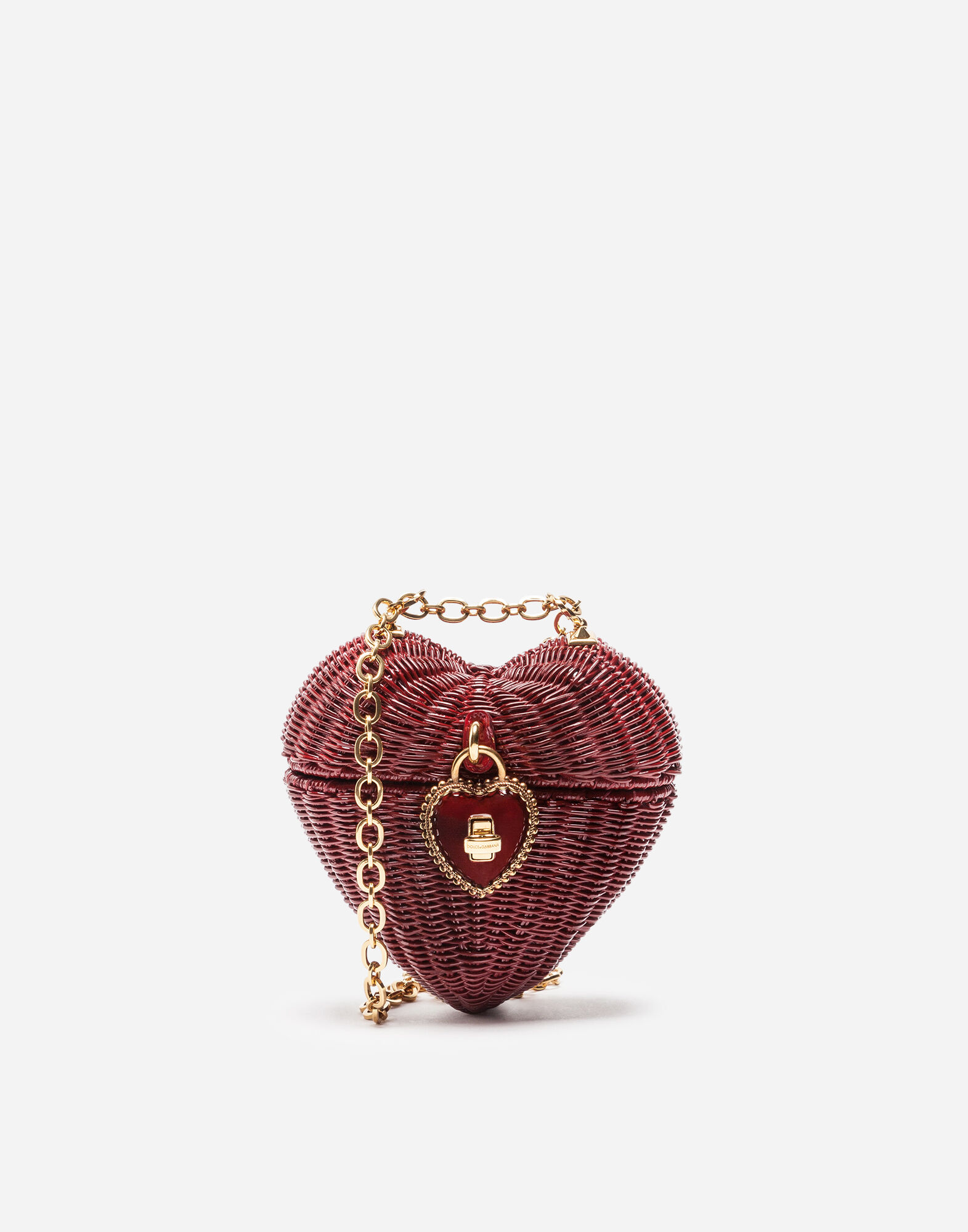 Dolce Heart Box In Painted Wicker, Red