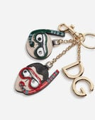 DAUPHINE CALFSKIN KEYCHAIN WITH PATCHES OF THE DESIGNERS