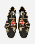 Dolce & Gabbana SLIPPERS IN PRINTED CADY WITH JEWEL BUCKLE