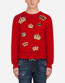 Dolce & Gabbana CREW NECK CASHMERE KNIT WITH PATCH
