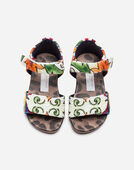 FIRST STEPS SANDALS IN PRINTED BROCADE