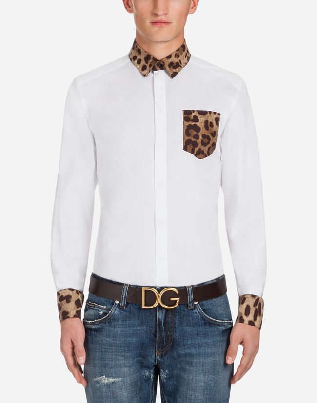 COTTON GOLD FIT SHIRT WITH LEO DETAIL