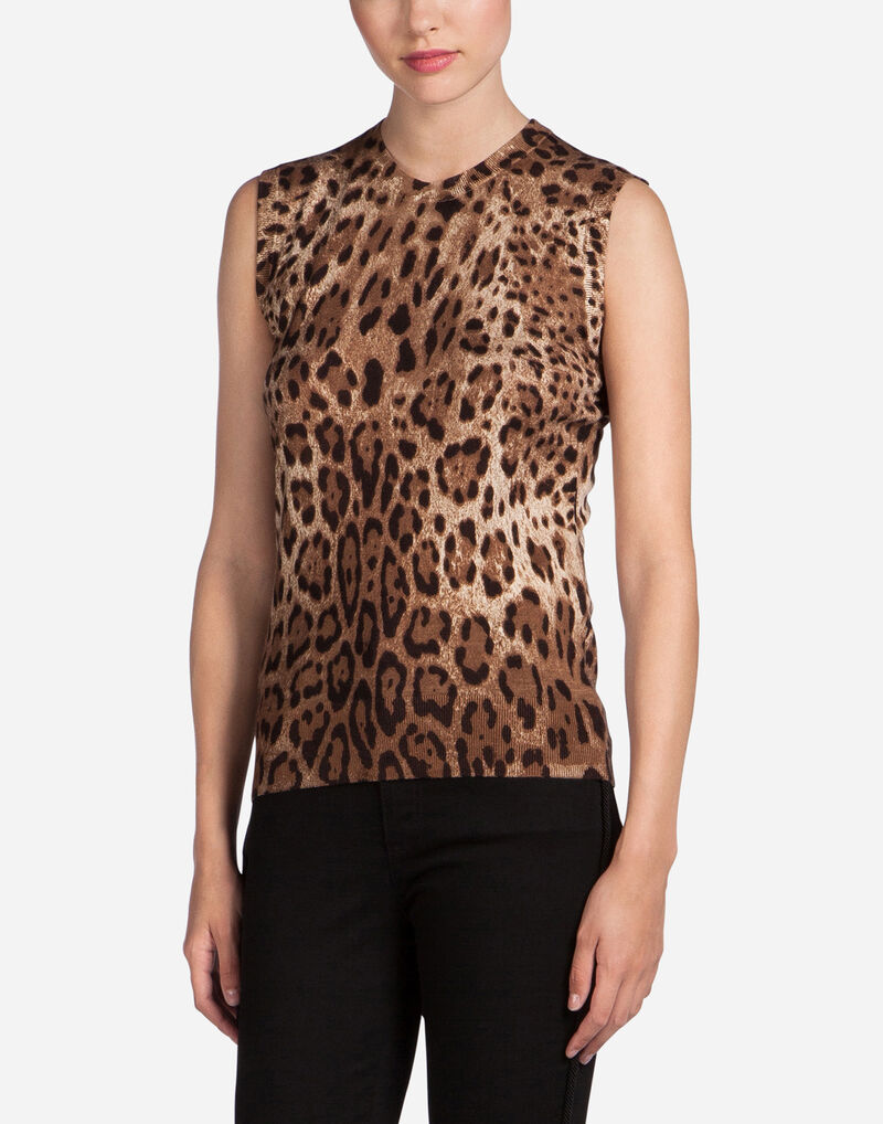 SLEEVELESS PRINTED CASHMERE CREW NECK
