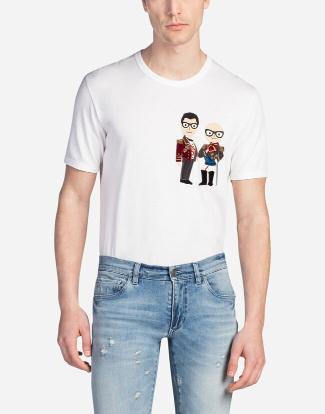 COTTON T-SHIRT WITH DESIGNER PATCHES