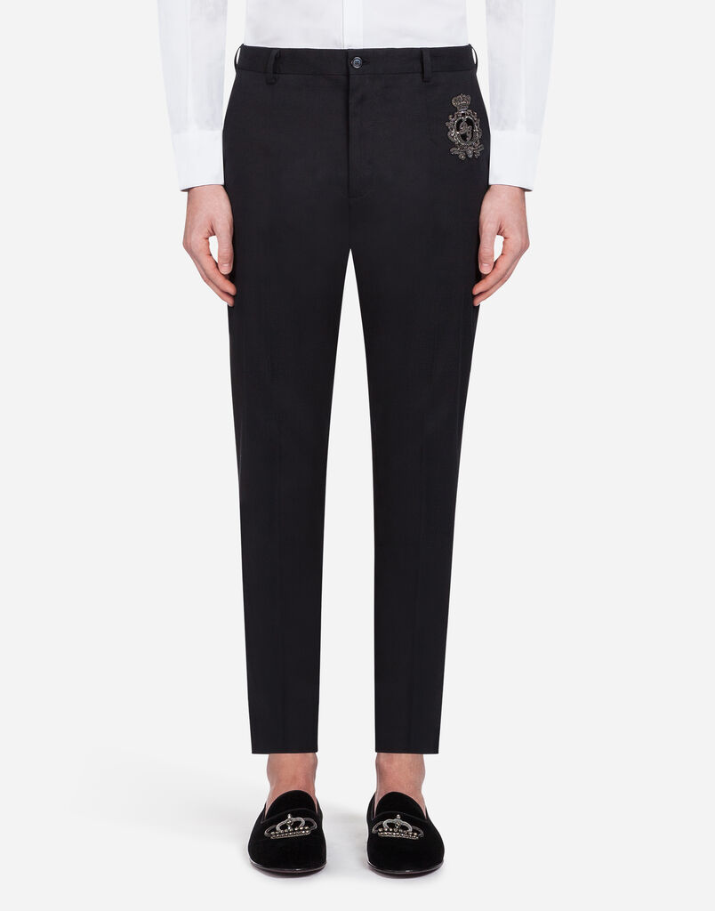 Dolce & Gabbana PANTS IN STRETCH COTTON WITH PATCHES