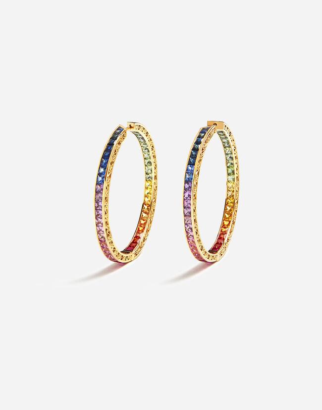 Dolce & Gabbana MULTI-COLORED SAPPHIRE HOOP EARRINGS