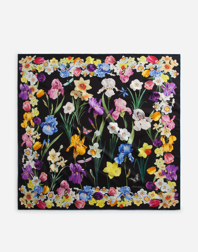 PRINTED SILK FOULARD 90 x 90 cm – 35.4 x 35.4 inches