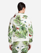 SWEATER IN PRINTED COTTON WITH A ZIP AND HOOD