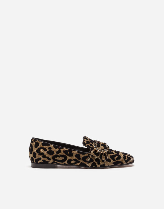 Dolce & Gabbana SLIPPERS IN COLOR-CHANGING LEOPARD FABRIC WITH JEWEL BUCKLE