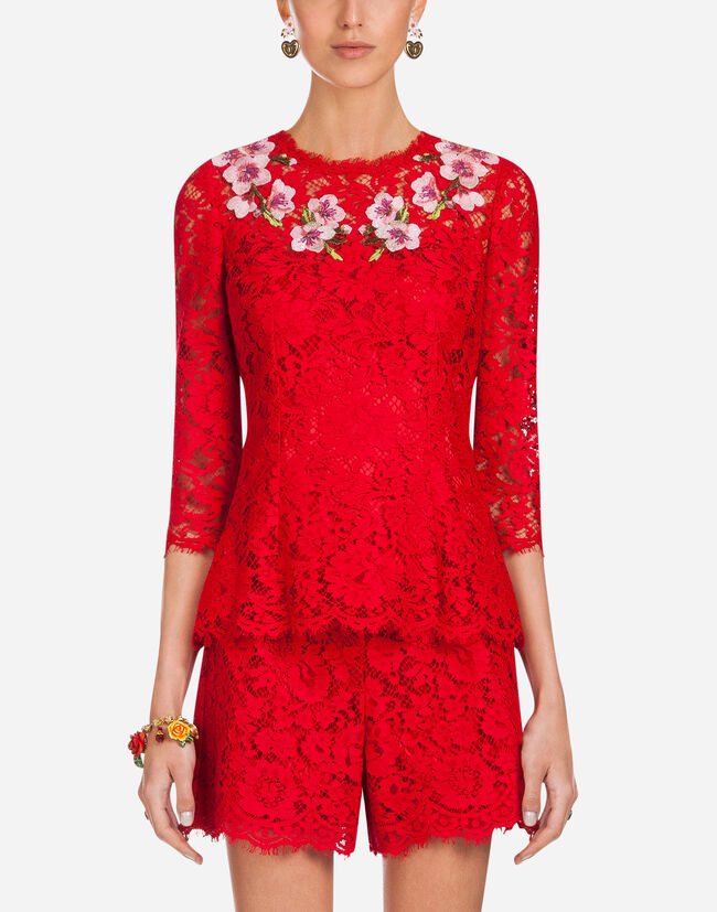 EMBROIDERED CORDONETTO LACE TOP
