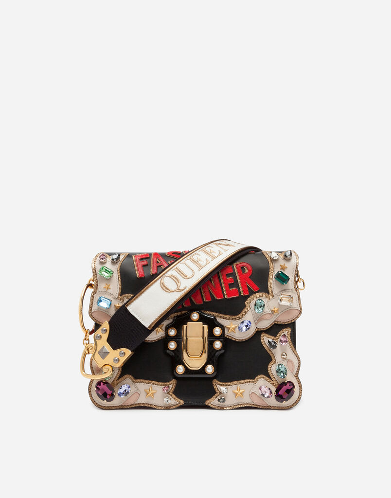 LUCIA SHOULDER BAG WITH EMBROIDERIES AND APPLICATIONS