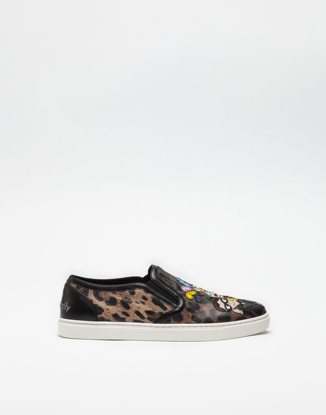 SLIP ON SNEAKERS IN CRESPO LEO WITH DESIGNERS PATCH