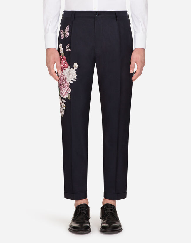 EMBROIDERED PANTS IN COTTON/SILK
