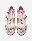 LEATHER BALLET FLATS WITH EMBROIDERY