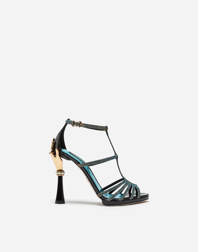 SANDAL IN COLOR-CHANGING FABRIC AND PATENT LEATHER WITH SCULPTED HEEL