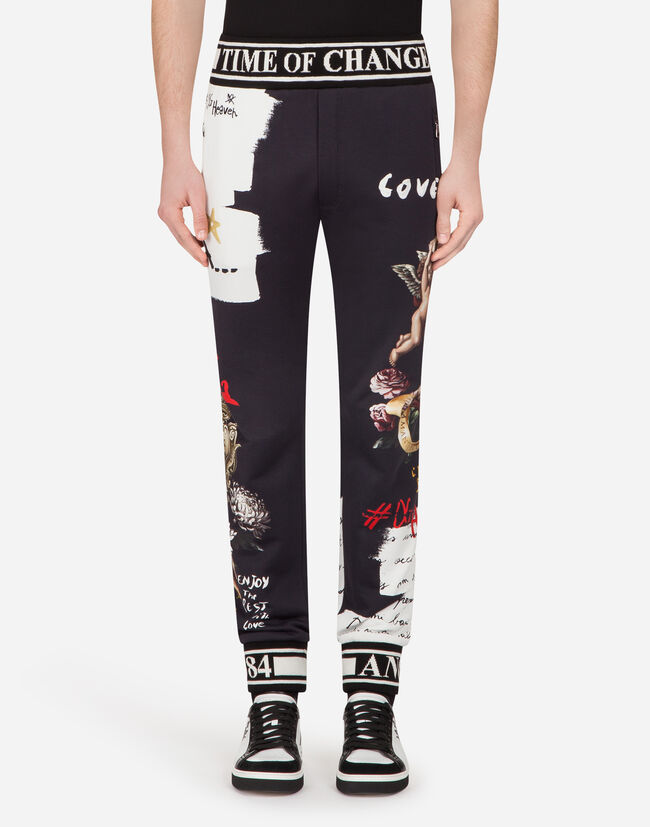 Dolce&Gabbana JOGGING PANTS IN PRINTED COTTON