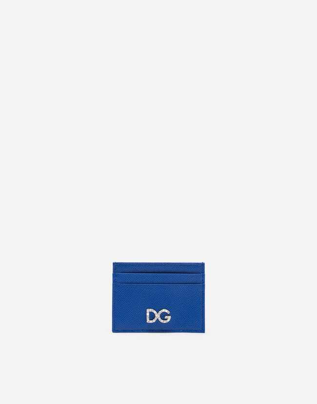 DAUPHINE CALFSKIN CARD HOLDER WITH DG CRYSTAL LOGO