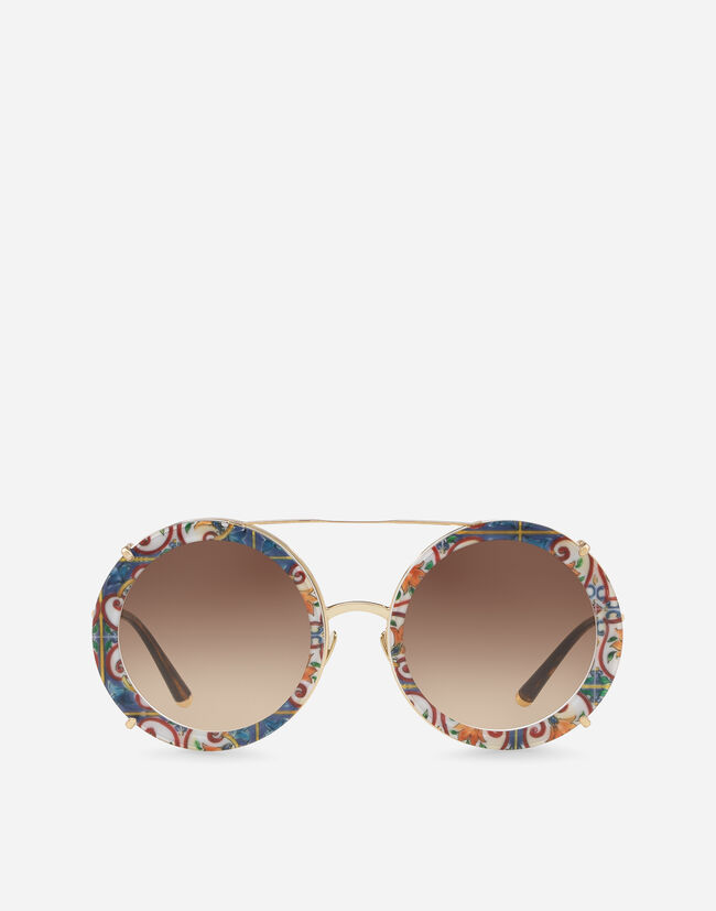 Dolce & Gabbana ROUND CLIP-ON SUNGLASSES IN GOLD METAL IN MAJOLICA PRINT