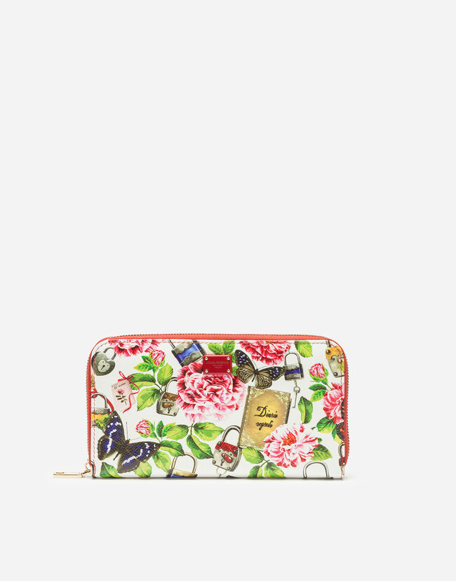 ZIP-AROUND WALLET IN PRINTED DAUPHINE CALFSKIN